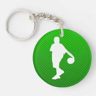Green Basketball Double-Sided Round Acrylic Keychain