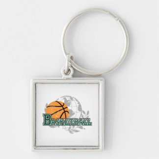 Green Basketball Tshirts and Gifts Silver-Colored Square Key Ring