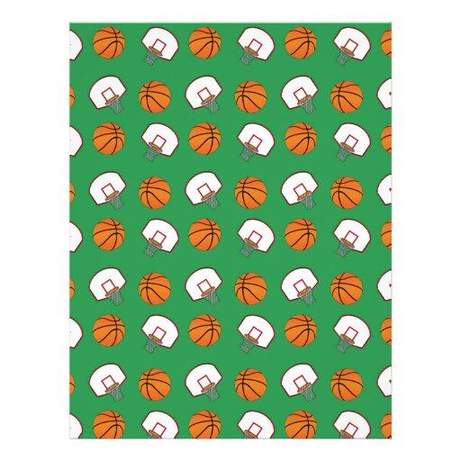Green basketballs and nets pattern flyer design