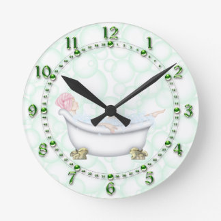 Green Bathroom Bubbles Round Clock