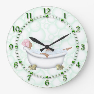 Green Bathroom Shiny Numbers Bubbles Large Clock