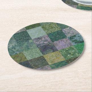 Green Batik Patchwork Round Paper Coaster