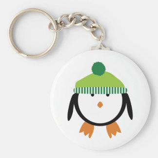 Green Beanie Penguin Basic Round Button Key Ring