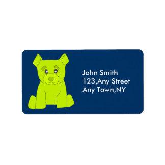 Green Bear Label Template Address Label