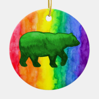Green Bear on Rainbow Wash Circle Ornament
