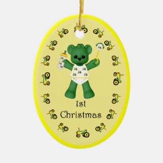 Green Bear Tractor 1st Christmas Ornament