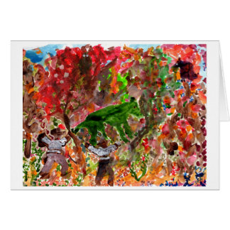 Green beast in red trees note card