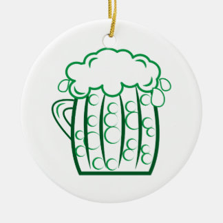 Green Beer Double-Sided Ceramic Round Christmas Ornament