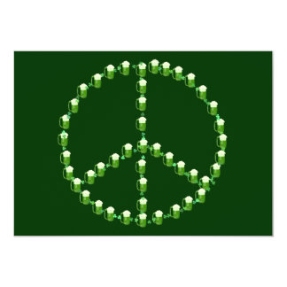 Green Beer Peace Sign 13 Cm X 18 Cm Invitation Card