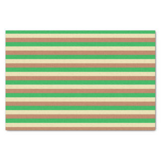 Green, Beige and Brown Stripes Tissue Paper