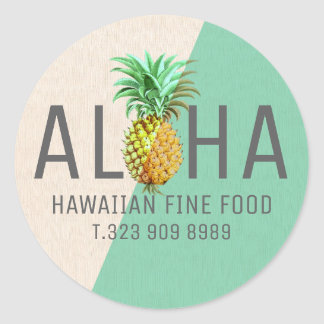 Green & Beige Linen Text Aloha With Pineapple Round Sticker