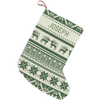 Green & Beige Ugly Christmas Sweater - Your name Small Christmas Stocking