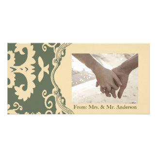 Green beige vintage western country wedding photo card template