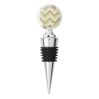 Green Beige Wedding Colors Modern Chevron Pattern Wine Stopper