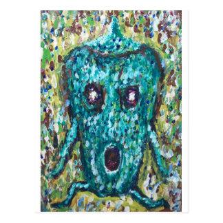 Green Bell Pepper running away from something Postcard