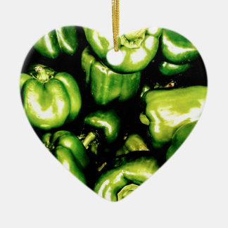 Green Bell Peppers Ceramic Heart Decoration