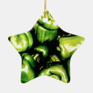 Green Bell Peppers Ceramic Star Decoration