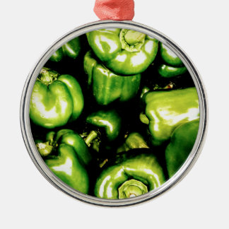Green Bell Peppers Metal Ornament