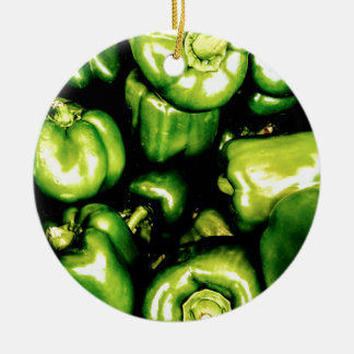 Green Bell Peppers Round Ceramic Decoration