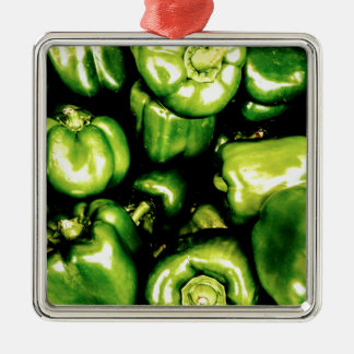 Green Bell Peppers Silver-Colored Square Decoration