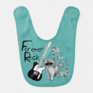 """Green bib """"Forever Rock'n'roll"""", kitten, guitar"""