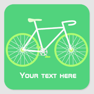 Green Bicycle Square Sticker