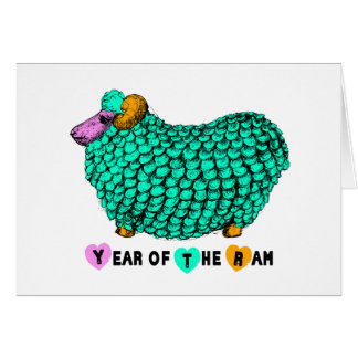 Green Big Ram - Chinese New Year 2015 Greeting Cards