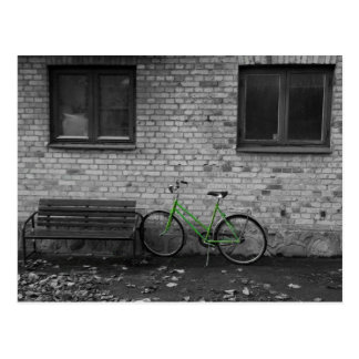 Green bike postcard