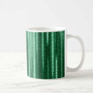Green Binary Rain Basic White Mug