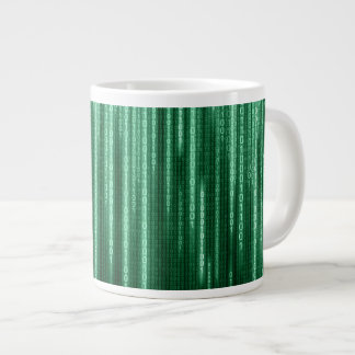 Green Binary Rain Jumbo Mug