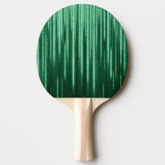 Green Binary Rain Ping Pong Paddle