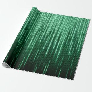 Green Binary Rain Wrapping Paper
