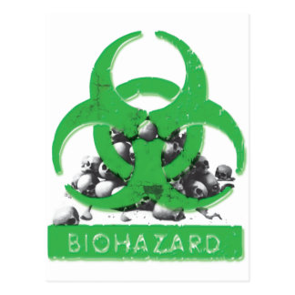 Green Bio Hazard and Skull Pile Postcard