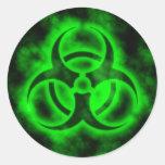 Green Biohazard Round Sticker