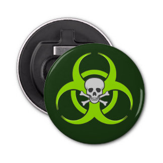 Green Biohazard Skull and Crossbones Bottle Opener