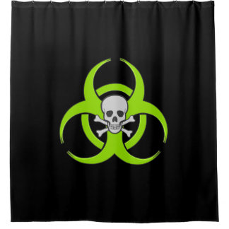 Green Biohazard Skull and Crossbones Shower Curtain