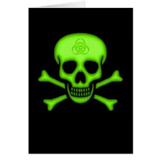 Green Biohazard Skull Card