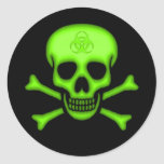 Green Biohazard Skull Sticker