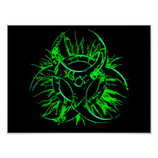 Green biohazard toxic fallout warning sign symbol