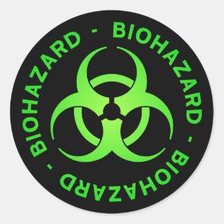 Green Biohazard Warning Classic Round Sticker