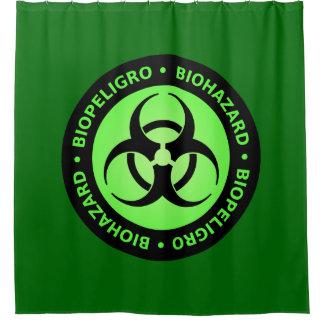 Green Biohazard Warning Sign Shower Curtain