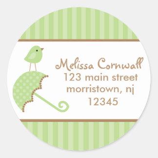 Green Bird Address Labels Round Stickers