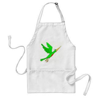 green bird flying standard apron