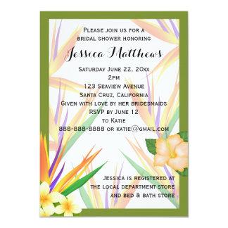 Green Bird of Paradise Bridal Shower Wedding 11 Cm X 16 Cm Invitation Card
