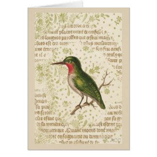 Green Bird on Branch Card