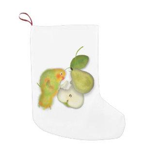 Green bird with  pear Christmas Stocking Small Christmas Stocking