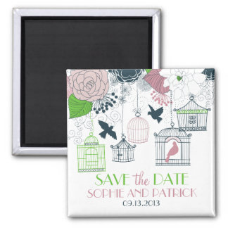 Green Birdcages Floral Save the Date Magnet