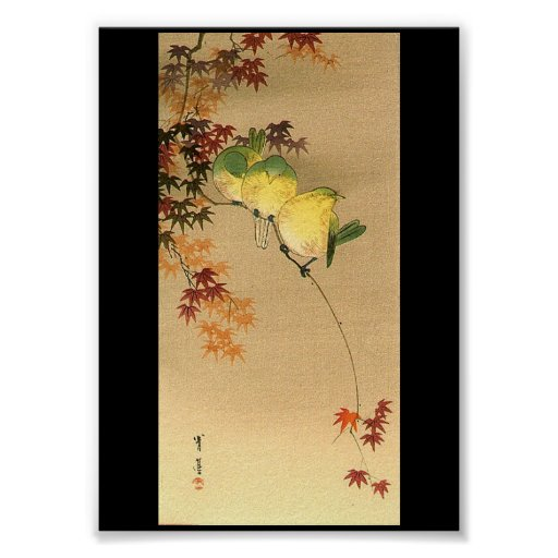 Green Birds on Maple Tree, Japanese Art c.1800s Posters