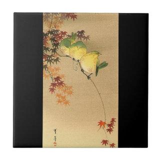 Green Birds on Maple Tree, Japanese Art c.1800s Tile