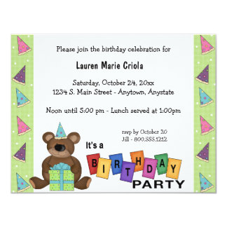 Green Birthday Present Bear Party Invitation